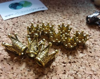 King & Queen Crown Bead Set - 2pc Metal Crown Set - 1 King Crown and 1 Queen Crown Bead - select your colors - Set of crowns - 2pcs