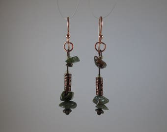 "Rainforest Jasper ""Aloe"" Earrings on Rose Gold"