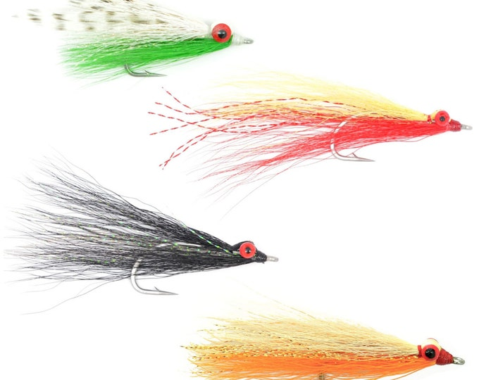 Clousers Minnow Fly Fishing Flies Collection - Assortment of 4 Saltwater and Bass Flies - Hook Size 1/0