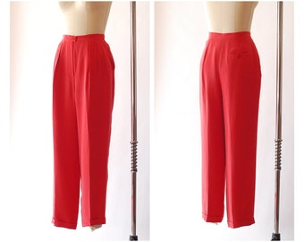 vintage red silk trousers / size medium