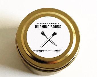 Burning Books Travel Tin Literary Candle