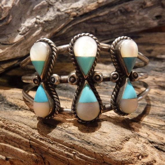 Vintage Zuni Sterling Silver Bracelet MOP Turquoise Bracelet 28.4 Grams Sterling Signed Bracelet Native American Bracelet Bangle Cuff