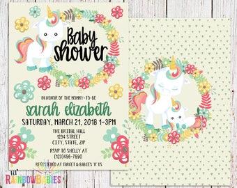 Baby Unicorn Baby Shower Invitation, PRINTABLE Baby Shower Invitation, Unicorn Invitation, Rainbow Baby Shower, Rainbow Unicorn Baby Shower