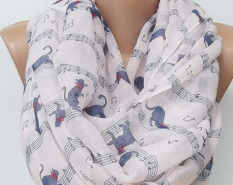 Cat Scarf Cat Print Scarf Infinity Scarf cat scarf gift ideas  women fashion accessories white scarf summer scarf infinity scarf
