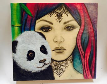 a Girl with Panda friend in water color,pencil and ink on original painnting wood box
