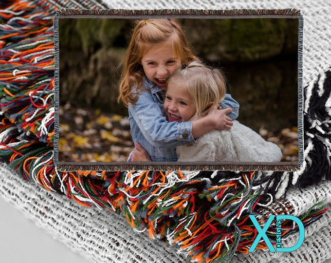 "Custom Woven Blanket, Machine Washable, 55"" x 37"", Custom Blanket, Photo Blanket, Personalized, Fringe, Soft Blanket, Cotton and Polyester"