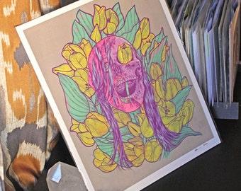 "Skull and Tulips Print of Original Maritza Torres Painting 11"" X 14"""