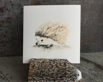 Cute Hedgehog Card, Animal Cards, Watercolor Card, Art Cards Watercolor, Blank Greeting Cards, Card for Hedgehog Lover, Artist Trading Card
