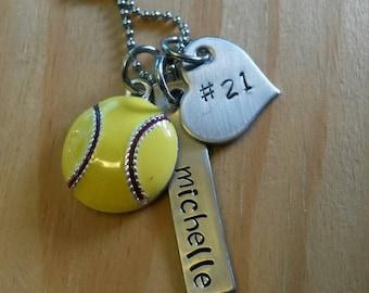 Hand Stamped Personalized Softball Necklace - Softball Team Gift - Softball Senior Gift -  Softball gifts - Girls Softball Gift