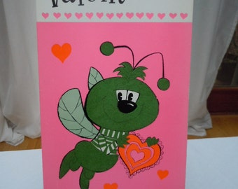 "Vintage 60's  Large  VALENTINE Card "" I Really Glow For You"" -New Old Stock  Baker Card's-   15"" Long"