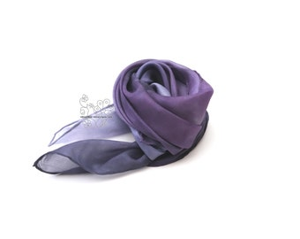 Lavender hand dyed silk scarf ombre headband