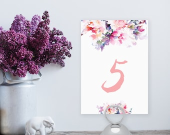 Printable Floral Watercolor Table Number 1-20 - Instant Download - Blush Pink Spring DIY Printable Table Numbers - Jessica
