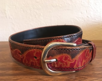 Indian Leather Stamped Elephant Belt Size S