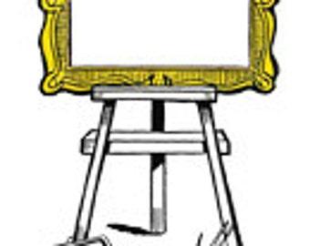 Frame Easel Artist Canvas Paint - Vintage Art Illustration - Digital Image