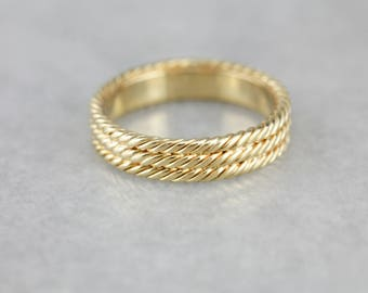 Triple Rope Gold Wedding Band, Nautical Ring NX0Y0P