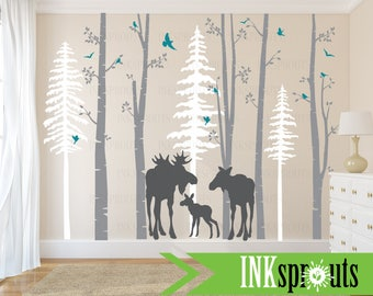 Birch Decal with Moose Family, 5 Birch decal set with pine trees, birch tree set, Moose baby, Modern Nursery, Nursery decals, Woodland theme