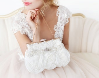 Ivory Bridal Clutch,  Wedding Clutch, Beaded bridal clutch, Bridesmaids gift, Rhinestone clutch, Spring Wedding, Flower bridal clutch