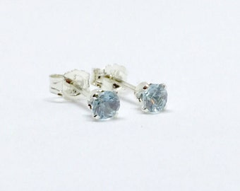 Aquamarine stud earrings, silver aquamarine earrings, march birthstone earrings, natural aquamarine stud earrings, dainty studs, silver