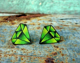 emerald peridot earrings (studs posts)  tattoo style august birthstone