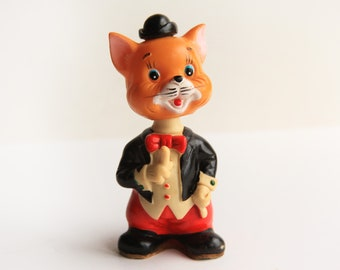Vintage Alps Wind Up Toy Cat in Top Hat Character Mid Century Made in Japan Hard Plastic Toys Working Condition