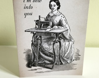 Greeting Card: I'm Sew Into You, love greeting card, valentine card, anniversary card, wedding card, funny greeting card