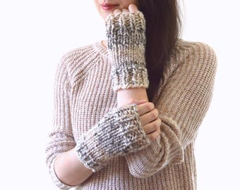 Chunky Knit Wrist Warmers Fingerless Gloves Mittens | The Okotoks