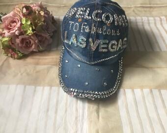 Welcome to Fabulous Las Vegas-vegas baseball cap- denim Las Vegas cap- Las Vegas bachelorette hat