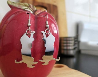 pRe-loved Collection - Upcycled cutlery earrings with a playful kitten silhouette