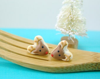 Christmas Earrings // MADE TO ORDER Reindeer Cookie Earrings // Stocking Stuffers // Gifts for Her