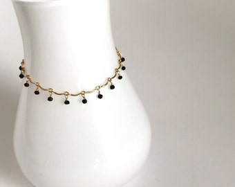Leticia - Delicate Black Spinel and 14k Gold Filled Bracelet