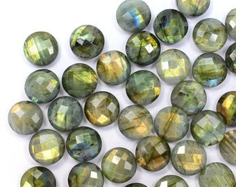 5 Piece 14mm Natural Gold Labradorite Microfaceted Coin Shape Beads For Handmade Jewellery (8762-66)