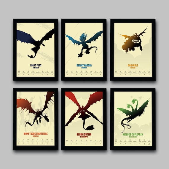 How To Train Your Dragon Inspired Minimalist Movie Poster Set
