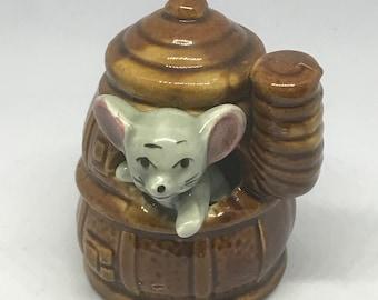 Honeypot Vintage Ceramic Mouse Toothpick Holder 1950's