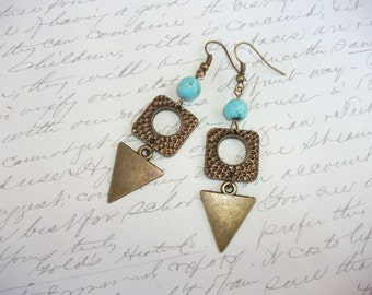 Geometric triangle pendant earrings with turquoise stones
