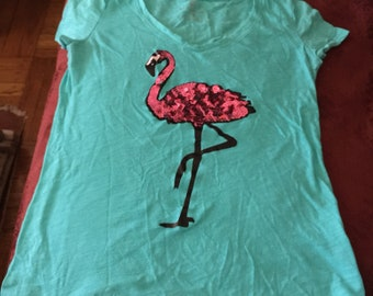 XS sequin flamingo tee blue