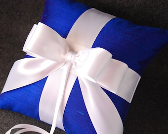 As Seen In The Princess Cruise Royal Christening - Ring Bearer Pillow - Royal Blue Silk Pillow with White Double Faced Ribbon - Audrey