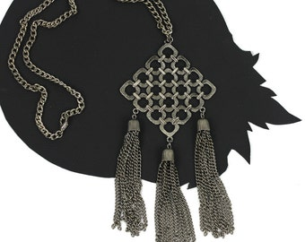 Silver Geometric Vintage Boho Necklace with Chain Tassels