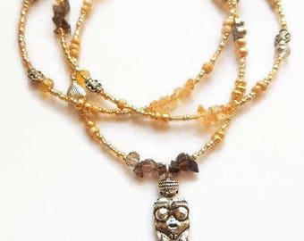 Menopausal Goddess Waist Beads, Womb Wellness Waist Beads, Citrine Waist Beads,  Smokey Quartz Belly Chain, Belly Beads