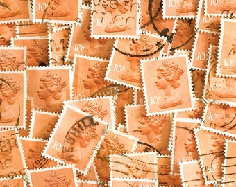 Light Orange used, British, 10p machin postage stamps all off paper for collage, stamp collecting, decoupage, scrapbooking and crafting