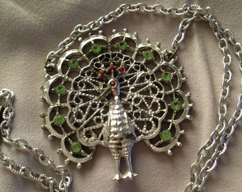 Vintage Silver Tone Peacock Necklace with Red and Green Rhinestone - Great Statement Piece!