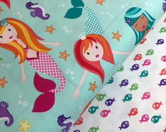 Fairy Tales in Aqua and Guppie Fish Bundle from the Mer-Mates Collection from Michael Miller Fabrics, Mermaid, Seahorse