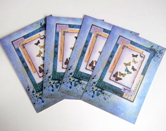 Original art postcards. Set of 4. Print of mixed media painting with butterflies. Blue & white.
