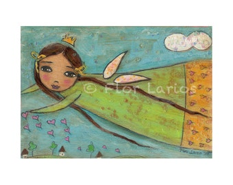 Heartdrops - Fairy Girl Print from Painting by FLOR LARIOS (5 x 7 INCHES)