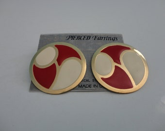 VINTAGE red ivory gold circle POST EARRINGS
