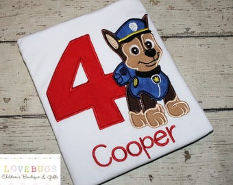 Custom Boys Chase Dog Birthday Shirt ~ Embroidered, Applique, Monogrammed ~ Many sizes available!
