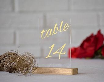 Números de oro. Números de mesa para decoración de la mesa de la boda. Números de mesa oro. Números de mesa de boda.