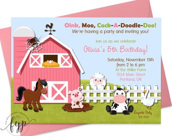Girls Farm Party Invitation - Girls Birthday Invitation - Barnyard Birthday Invitation - Farm Party Invite - Barnyard Party - Farm Birthday