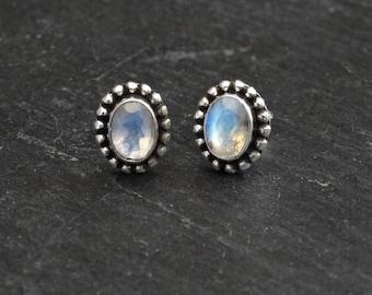 Rainbow Moonstone Earrings, Silver and Moonstone Stud Earrings, June Birthstone, Faceted Rainbow Moonstone, Sterling Silver Detail