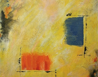 Large Abstract Acrylic Painting Yellow Painting Blue Painting Orange Painting Modern Art Contemporary Art