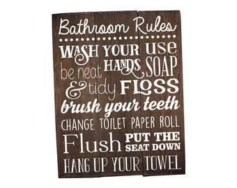 Bathroom Rules Sign Bathroom Rules Sign Rustic Kids Bathroom Art Kids Bathroom Decor Rustic Bathroom Sign Bathroom Wall Art